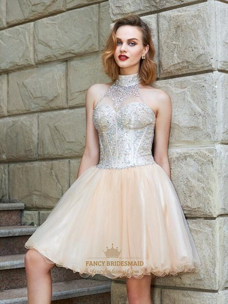 Elegant Pink High Neck Beaded Tulle Short Dresses With Ruffle Hem