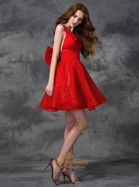 A Line Red V Neck Sleeveless Backless Pleated Short Dresses With Bow