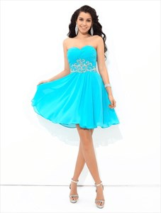 Aqua Blue Sweetheart Neckline Beaded Chiffon Short Dress With Ruching