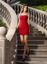 Simple Red Square Neck Cap Sleeve Beaded Sheath Chiffon Short Dress