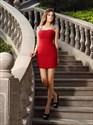 Simple Red Square Neck Cap Sleeve Beaded Sheath Chiffon Short Dress