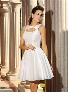 A Line White Bateau Neckline Sleeveless Keyhole Satin Short Dress