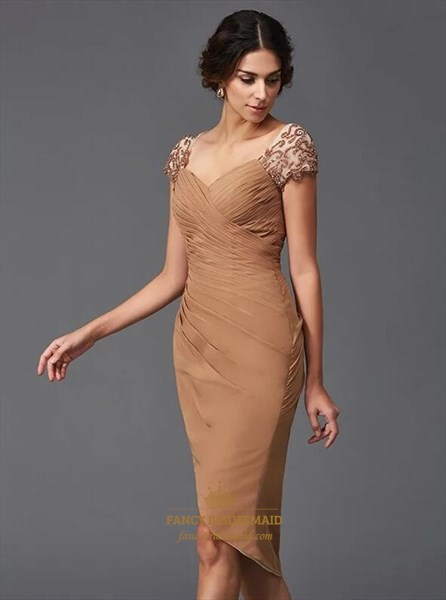 Square Neck Cap Sleeve Ruched Sheath Short Dress With Applique