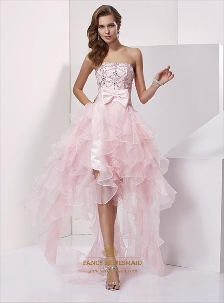 Pink Strapless Sleeveless Beaded Organza Dress With Ruffled And Bow