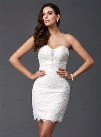 White Sweetheart Neckline Sheath Lace Short Dress With Buttons