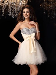 Sweetheart Beaded Tulle Short Prom Dress With Bow And Ruffles
