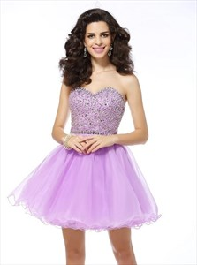 Lilac Sleeveless Beaded Tulle Short Prom Dress With Ruffle Bottom
