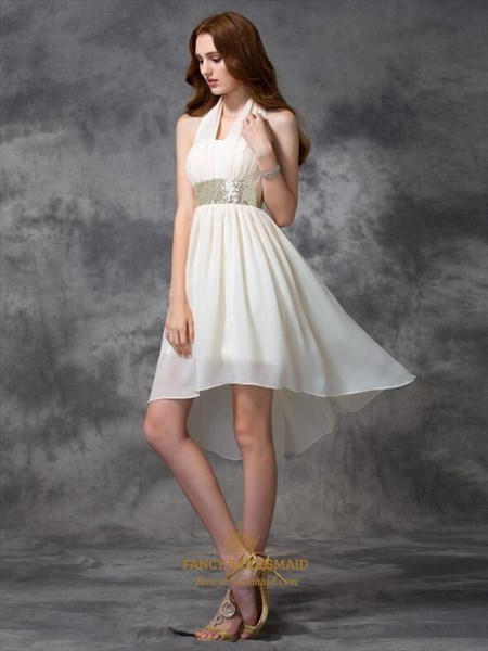 Halter Neck Pleated Asymmetrical Hem Short Chiffon Dress With Sequins