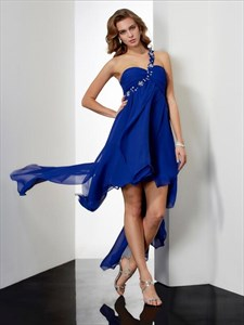 One Shoulder Sleeveless Beaded Keyhole Asymmetrical Short Prom Dress