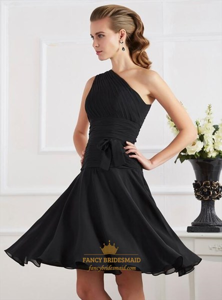 Black One Shoulder Sleeveless Ruched Bodice Chiffon Dresses With Sash
