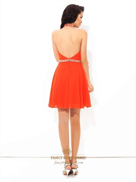 A Line Halter Neck Keyhole Backless Beaded Waist Chiffon Short Dress