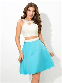 Sky Blue High Neck Keyhole Beaded Satin Two Piece Short Prom Dress
