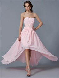 Strapless Sleeveless Pleated High Low Prom Dress With Beaded Waist