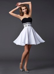 A Line White Sleeveless Chiffon Short Dress With Rhinestones