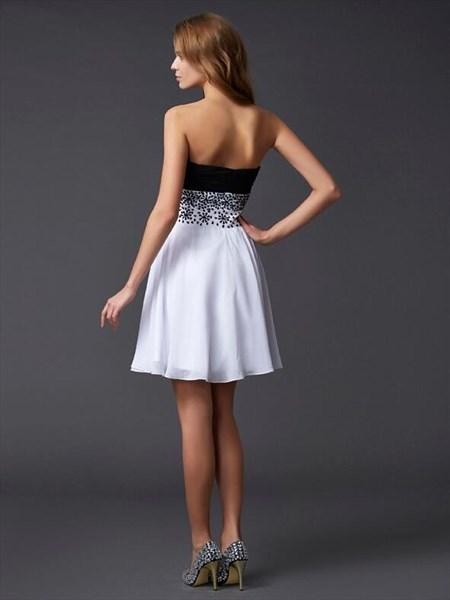 A Line White Sleeveless Chiffon Short Dress With Rhinestones