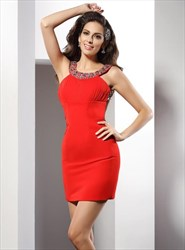 Red High Neck Beaded Ruched Open Back Sheath Chiffon Short Dress