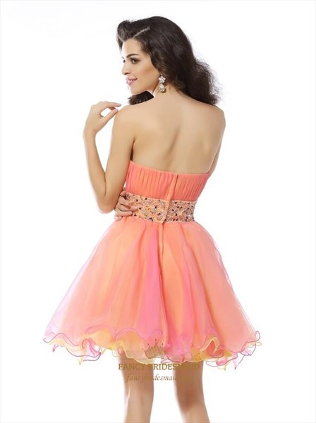 Coral Strapless Beaded Ruched Organza Short Dress With Ruffle Bottom