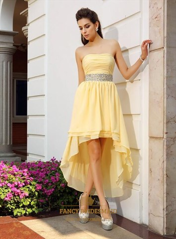 A Line Cream Strapless Pleated High Low Prom Dress With Beaded Waist