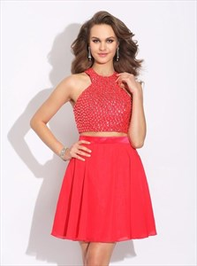 Red High Neck Sleeveless Beaded Chiffon Short Two Piece Prom Dress