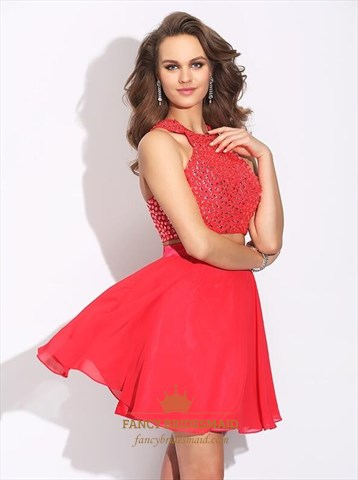 Red High Neck Sleeveless Beaded Chiffon Short Two Piece Prom Dress