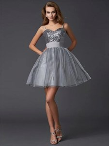 Grey Spaghetti Strap Sleeveless Short Tulle Prom Dress With Sequins