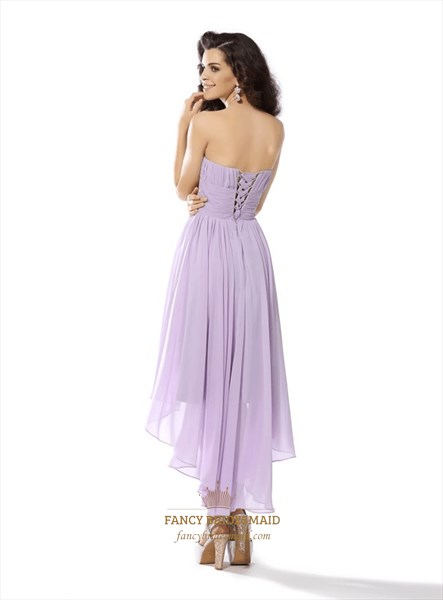 Lilac A Line Sweetheart Pleated High Low Chiffon Dress With Flowers