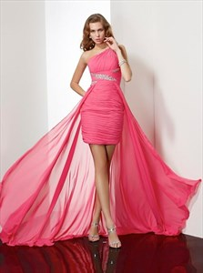 Watermelon One Shoulder Beaded Sheath Short Dress With Chiffon Train