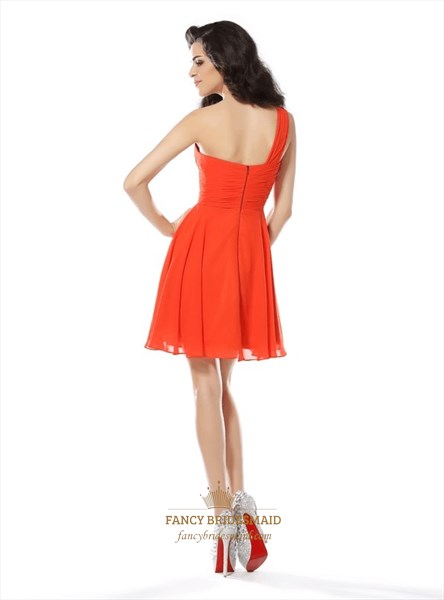 Orange One Shoulder Sleeveless Beaded Ruched Short Chiffon Dress