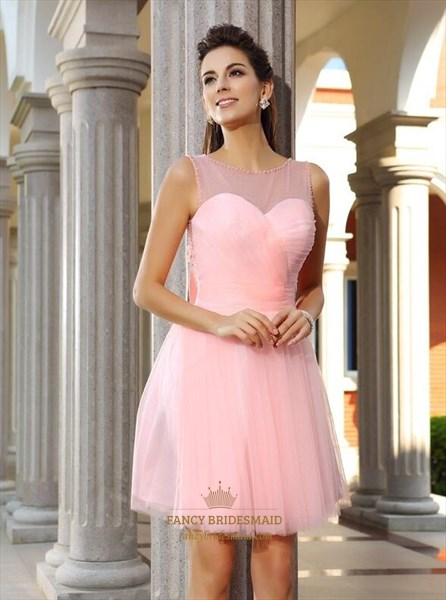 Pink Bateau Beaded Back Keyhole Short Prom Dress With Bow And Flowers