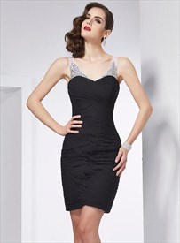Black V Neck Sleeveless Beaded Ruched Sheath Short Dress With Keyhole