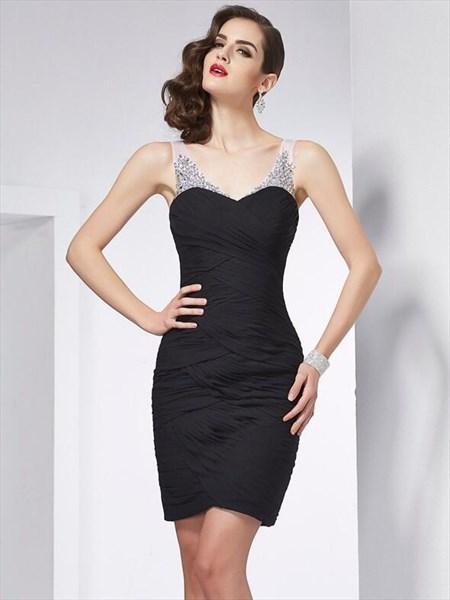 Black V Neck Sleeveless Beaded Ruched Sheath Short Dress With Keyhole
