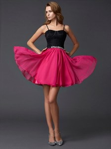 Fuchsia Spaghetti Strap Sleeveless Short Prom Dress With Beaded Waist