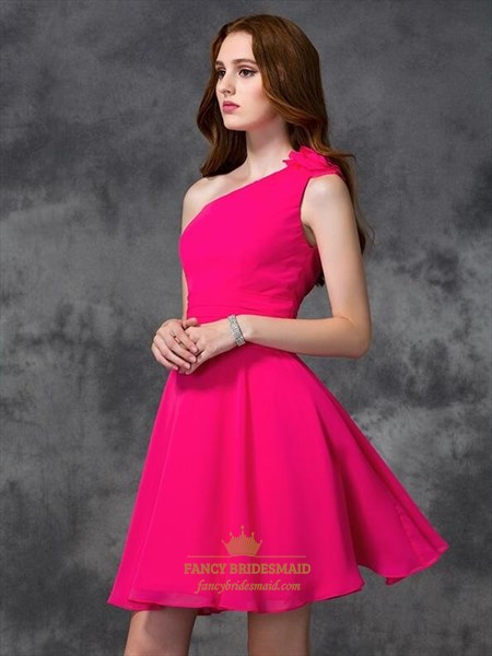 Simple Fuchsia A Line Ruched Waist Short Chiffon Dress With Flowers