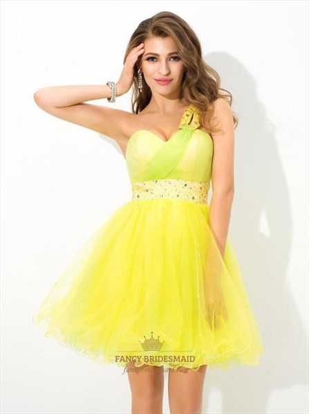 A Line Yellow One Shoulder Sleeveless Beaded Ruffle Hem Short Dress