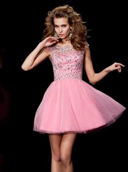 Light Pink A Line Bateau Sleeveless Beaded Bodice Tulle Short Dress