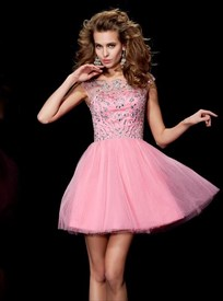 Light Pink A Line Bateau Sleeveless Beaded Bodice Tulle Short Dress 9001069e6