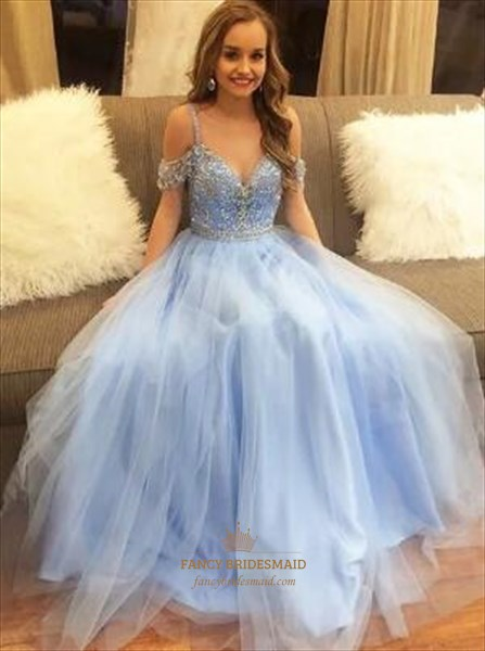 A Line Light Blue Spaghetti Strap Cap Sleeve Beaded Tulle Prom Dress