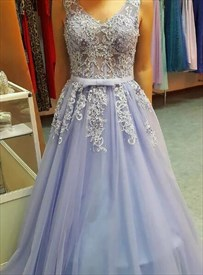 Lilac V Neck Sleeveless Applique Tulle Prom Dress With Lace Up Back