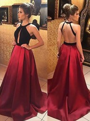 Elegant Red Halter Open Back Satin Long Prom Dress With Keyhole