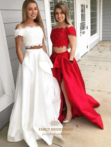 Off The Shoulder Short Sleeve Beaded Two Piece Prom Dress With Split