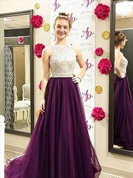 Purple A Line Bateau Sleeveless Beaded Tulle Long Dress With Train