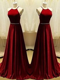 Burgundy Halter Neck Sleeveless Backless Prom Dress With Beaded Waist