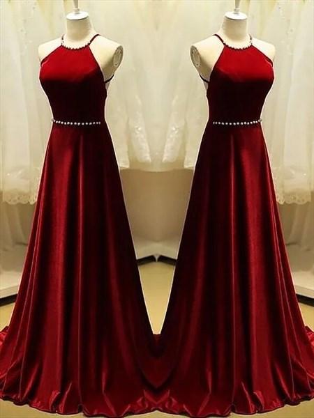 Burgundy Halter Neck Sleeveless Backless Prom Dress With Beaded Waist