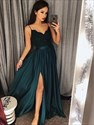 Dark Green Spaghetti Strap V Neck Pleated Satin Prom Dress With Split