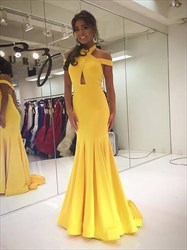 Yellow Cross Neck Backless Keyhole Pleated Prom Dress With Train