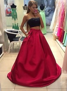 A Line Strapless Sleeveless Beaded Satin Two Piece Long Prom Dress