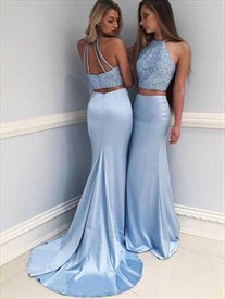 Sky Blue Halter Beaded Satin Mermaid Two Piece Prom Dress With Train