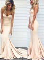 Simple Champagne Sweetheart Sleeveless Long Prom Dress With Train