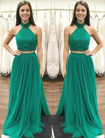 Green High Neck Beaded Pleated Tulle Two Piece Prom Dress With Split