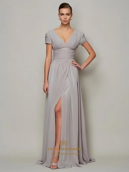 Grey A Line V Neck Short Sleeve Ruched Chiffon Prom Dress With Split